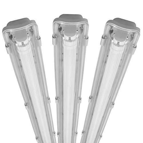 proventa® Luminaria pantalla estanca LED IP65 120 cm. Tubo LED incluido 4.000K 18W 1.800 lúmenes. Protección IK08. Clase energética A+. Set ahorro 3 unidades