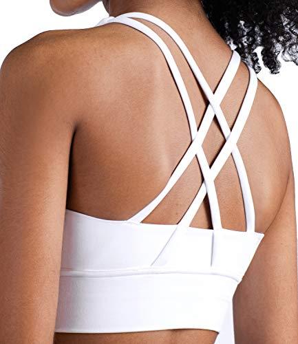 Lavento Women's Cross-Strap Sports Bra Longline Padded Medium Support Workout Yoga Bra Tops (4, 1249 White)