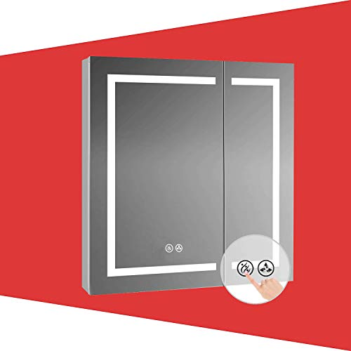 Recessed or Surface LED Mirror Medicine Cabinet, LED Medicine Cabinet with Lights with Defogger (30x32)