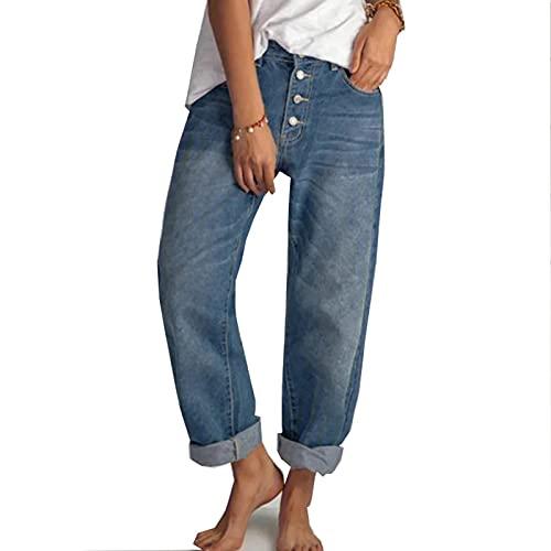 MFFACAI Jeans Femmes Streetwear Jeans Vintage Jeans Lavés Pantalons Amples Jeans À Jambes Larges Hip Hop High Street Girl Jeans (Color : Blue, Size : L)