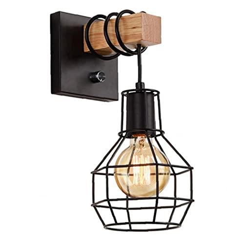 Eaarliyam Vintage Luz de Pared 110V E26 Tenedor de Jaula de la lámpara Industrial Regulable para Garaje (sin Bulbo)