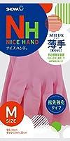 ショーワグローブ【指先強化タイプ】ナイスハンド ミュー 薄手 Mサイズ ピンク 1双