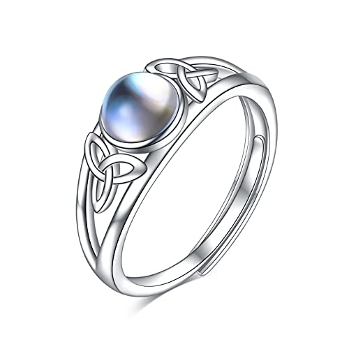 WINNICACA Rings for Women Moonstone Celtic Ring Sterling Silver Irish Celtic Knot Jewelry Gifts Rainbow Open Adjustable Ring for Women Teens