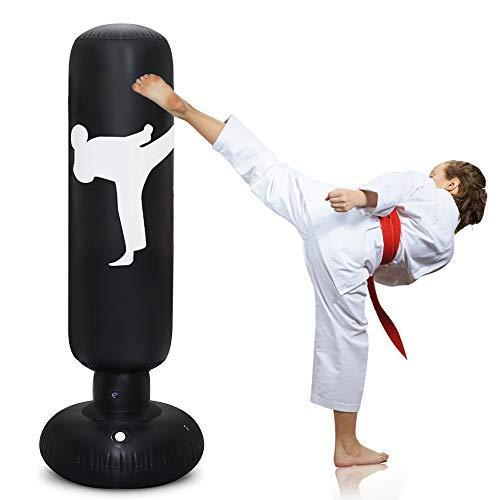 TUOWEI Aufblasbarer Boxsack, 160 cm, freistehender Fitness-Boxsack für Erwachsene, Kinder