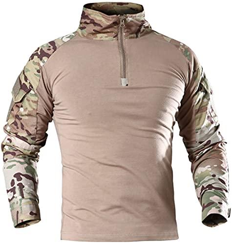 Memoryee Camisa de Manga Larga de Combate Militar del ejército táctico para Hombres Camiseta Slim fit de Camuflaje con Cremallera 1/4 y Bolsillos