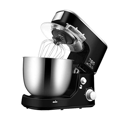 HEWEI Professional Food Mixer 5 l Stainless Steel Bowl Egg Beater Dough Hook and Stainless Steel Whisk Adjustable 3-Speed Splash Guard for Bread Cake