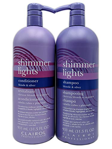 Clairol Shimmer Lights Shampoo & Conditioner 31.5 oz Duo (Blonde & Silver)