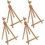 U.S. Art Supply Topanga 31' High Tabletop Wood Folding A-Frame Artist Studio Easel (Pack of 4) - Adjustable Beechwood Tripod Display Stand, Holds Up to 27' Canvas - Portable Table Desktop Holder