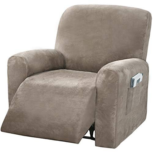 4 Pieces Stretch Velvet Recliner Chair Covers, Thick & Soft Lazy Boy Recliner Slipcover for Home Theater Chair with Side Pocket -  NC HOME