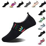 Mens Womens Water Shoes Barefoot Beach Pool Shoes Quick-Dry Aqua Yoga Socks for Surf Swim Water Sport (Black.WZ, 44/45EU)