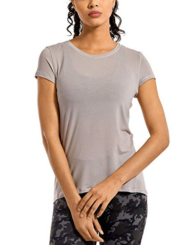 CRZ YOGA Ultra Light Camiseta de Manga Corta para Mujer Camiseta de Fitness Deportiva Cromo Oscuro Jaspeado 42