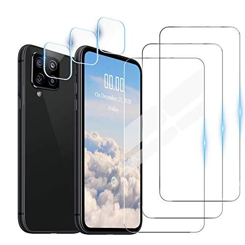 WeiCase 3 Pack Cristal Templado + 3 Pack Protector de Lente de Cámara para Samsung Galaxy A12,HD[Resistente a los arañazos] [Sin Burbujas]