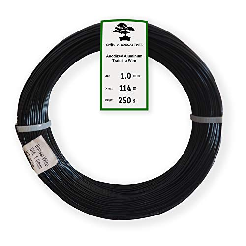 Anodized Aluminum 1.0mm Bonsai Training Wire 250g Large Roll (375 feet) - Choose Your Size and Color (1.0mm, Black)