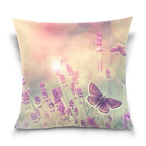 Chic Houses Hermosas flores de mariposa sol cuadrado fundas de almohada de algodón fresco natural mejor niños o bebé almohada cubierta 2030113