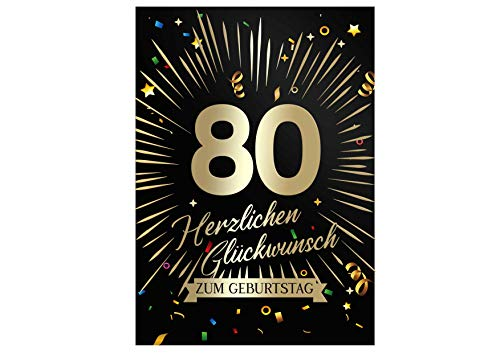 Friendly Fox Geburtstagskarte runder Geburtstag - 80. Geburtstag Glückwunschkarte zum Geburtstag - große Happy Birthday Karte inkl. Umschlag - Klappkarte 80 Geburtstag Karte Männer Frauen