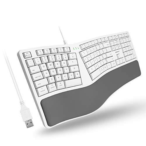 Macally Mac Wired Keyboard with Wrist Rest - Natural and Comfortable Typing - Split Ergonomic Keyboard for Mac with 110 Keys, 21 OSX Shortcuts, and 5ft USB-A Cable - Mac USB Keyboard Ergonomic Design
