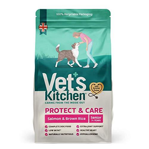 Vet's Kitchen - Perros Mayores de 7 años - Completa Comida Seca para Perros - Proteger y cuidar salmón y arroz Integral - Nutrición Avanzada - 7,5 kg