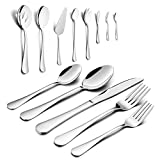 Silverware Set, HaWare 68-Piece Stainless Steel Flatware Set, Includes 60-piece Cutlery Set, 8-Piece Serving Set, Service for 12, Dishwasher Safe
