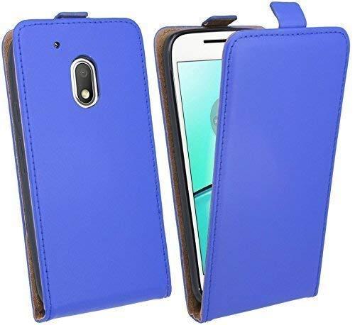 ENERGMiX Handytasche Flip Style kompatibel mit Lenovo Moto G4 Play in Blau Klapptasche Tasche Schutz Hülle