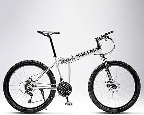 Bicicleta de montaña plegable, para hombre y mujer, para alumnos intermedios, off-road, amortiguador doble amortiguador, rueda de radios, 21 velocidades, 26 pulgadas, color negro y blanco