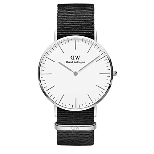 Daniel Wellington Classic Cornwall, Schwarz/Silber Uhr, 40mm, NATO, für Herren