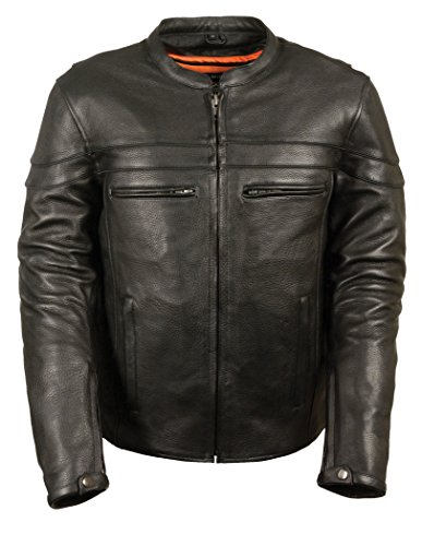 Milwaukee Leather SH1408 Men's Sporty Crossover Vented Black Leather Scooter Jacket with Gun Pocket - X-Large