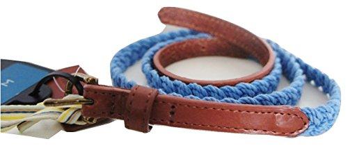 John Lewis Skinny Coton Tresse avec languettes de cuir véritable Ceinture en bleu – Taille Medium