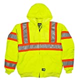 Berne Men's Hi-Vis Class 3 Hooded Active Jacket, Large Tall, Yellow