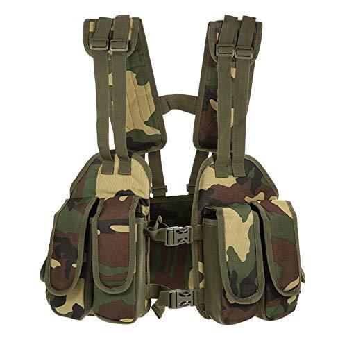FR&RF Multifonctionnel Camouflage Chasse Gilet Paintball Gilet de Formation Équipement Hommes Camping en Plein air léger Gilet,Vert