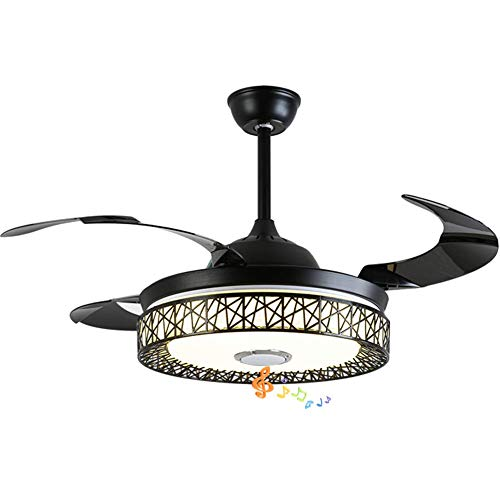 Fandian 42in Modern Smart Ceiling Fan with Lights Bluetooth Speaker Chandelier Lighting Fixtures, Remote Control, Retractable Blades, 3 Light Colors, for Living room, Bedroom (42in-Black nest)