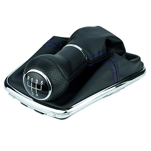 L & P Car Design L&P A251-12 Schaltsack Schaltmanschette Schwarz Naht Blau Schaltknauf 5 Gang 23mm kompatibel mit VW Golf 4 IV Chrom Rahmen Knauf Plug Play Ersatzteil für 1J0711113