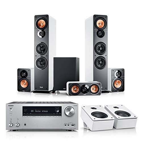 Teufel Ultima 40 Surround AVR für Dolby Atmos 5.1.2-Set Weiß / Weiß / Silber - Heimkino Lautsprecher 5.1 Soundanlage Kino Raumklang Surround Movie