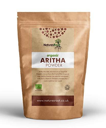 Natures Root Bio Reetha Pulver 250g - 100% Natürliches Waschnusspulver | Bio-Haarshampoo und Conditioner | Kräuter-Ayurveda-Pulver für das Haar
