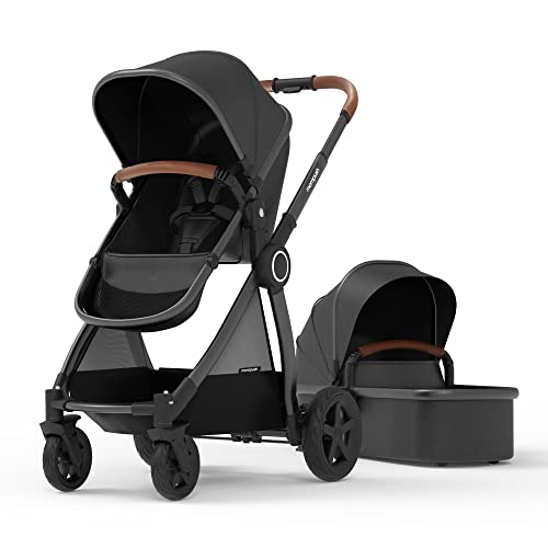 Mompush Ultimate2, Full-Size Standard Stroller, Independent Bassinet, Reversible Seat, Compact Self Standing Fold, Large UPF50+ Canopy, All Wheel Suspension