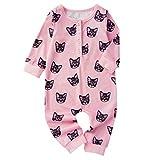 TWISFER Neugeborene Karikatur Katzen Druck Baby Body Unisex Baby Mädchen Jungen Langarm Overall Spielanzug Pyjama Kleidung Wickelbody Strampler Jumpsuit
