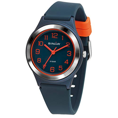 SINAR Jungen-Armbanduhr Sportuhr Fitness analog Quarz 10 Bar wasserdicht dunkelblau orange XB-48-12