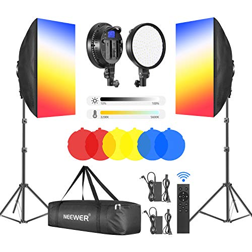 "Neewer 2-Pack 2.4GHz LED Softbox Lighting Kit with Color Filter — 20"" × 28"" Softbox, 3200–5600K 48W Dimmable LED Light Head, 2.4GHz Remote, Light Stand & Red/Yellow/Blue Filter for Photo Studio Video"