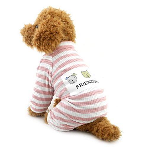 ZUNEA ペット服 犬服 パジャマ つなぎ ロンパース 綿製 ストライプ洋服 小型犬用 春秋冬用 柔らかい 可愛い 部屋着 チワワ ドッグウエア お散歩 2色5サイズ ピンク XL