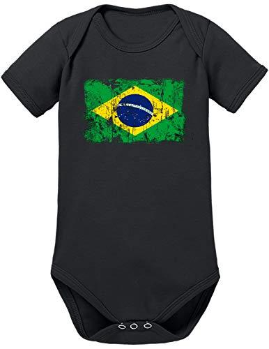 Body para bebé con bandera de Brasil negro 0-3 Meses