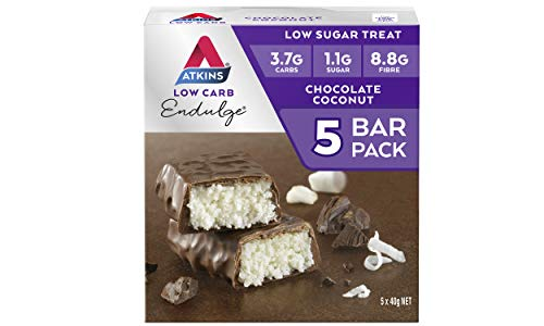 Atkins Endulge Chocolate Coconut Bars   Keto Friendly Bars   5 x 40g Low Carb Coconut Bars   Low Carb, Low Sugar, High Fibre   5 Bar Pack