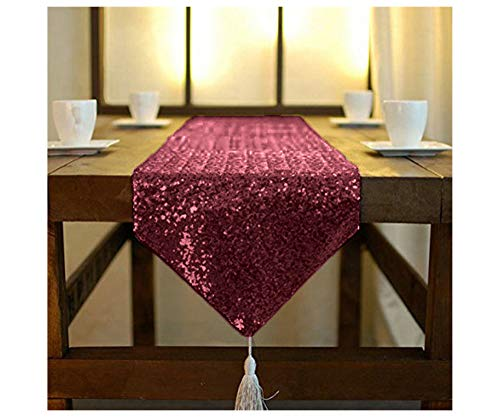 ShinyBeauty Table Runner Tassel Burgundy Sequin Table Runner 12x72-Inch Kitchen Runner Home Decor Dining Table Runner for Parties (12x72-Inch, Burgundy)