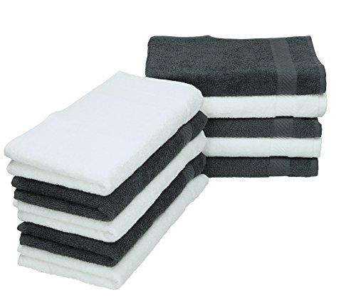 Betz Lot de 10 Serviettes débarbouillettes lavettes Palermo Taille 30x30 cm Couleurs Blanc & Gris Anthracite