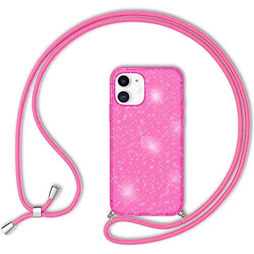 NALIA Neón Glitter Carcasa con Cuerda Compatible con iPhone 12 Mini Funda, Transparente Purpurina Silicona Cubierta & Correa Colgante, Translucido Brillante Case Estuche, Color:Rosa Glitter