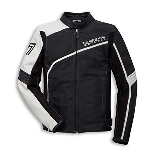 Ducati 77 Chaqueta de Cuero para Hombre Negro/Blanco - 54