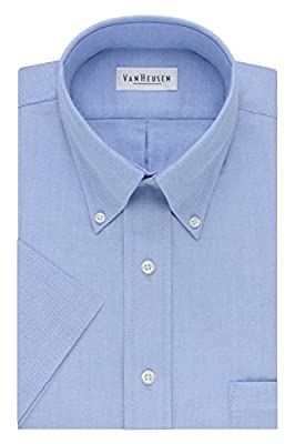 "Van Heusen Men's Short-Sleeve Oxford Dress Shirt, Blue, 19"" by PVH Corporate Outfitters Parent Code (Apparel)"