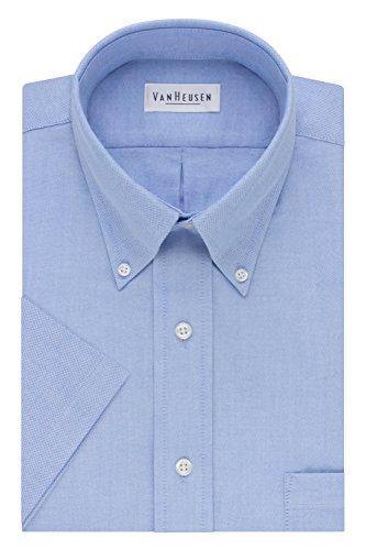 Van Heusen Men's Short-Sleeve Oxford Dress Shirt, Blue, 17.5'