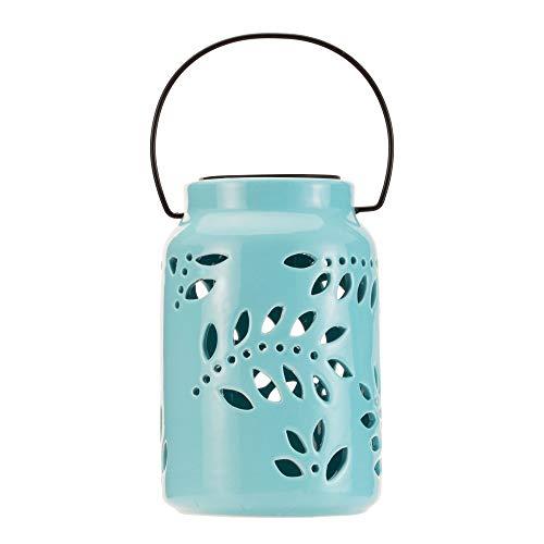Pauleen 48058 Sunshine Leaf Solar-Laterne Keramik Mint für außen-Balkon oder Garten, 0.006 W