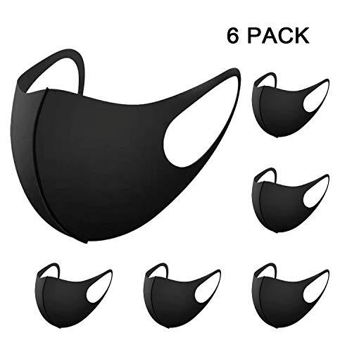L&Y Schwarz Baumwolle Masken, Masken Staubmaske Wiederverwendbare Mundschutz Maske Masken Staubmaske für Männer und Frauen (6 Stück)