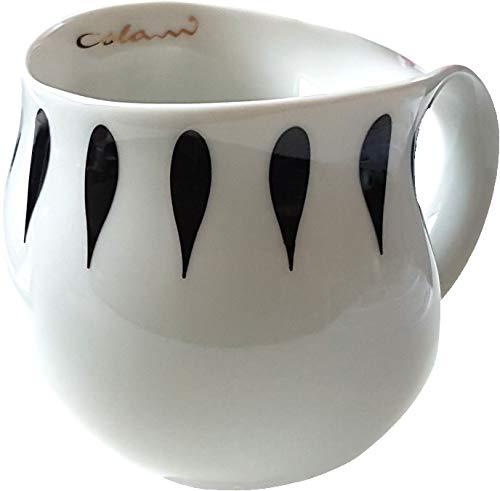 """Luigi Colani dekorierte Kaffeetasse Becher Tasse Cappuccinotasse Kaffeebecher """"Gold&Color"""" Drops schwarz 280 ml"""