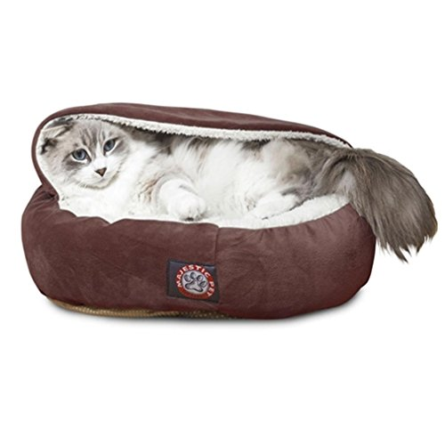 18 inch Chocolate Suede Canopy Cat Bed